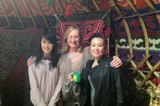 AA Judy with Excel Alumni in yurt restaurant