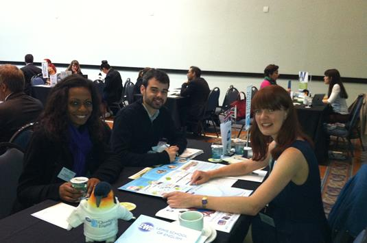 Adelle Spindlove of Lewis with Alvaro Galeano and Thais Ramos of Hola Intercambio