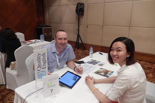 Brett Shireffs of Languages International with Anh Dao Nguyen of DOSCO