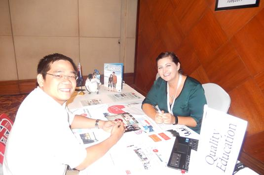 Lesley Brough of ITC with Khoi Pham of United Education