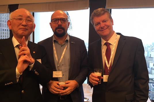 Tsutomu Tanaka of Tanaka International with Stephan Roussounis of English in Cyprus and Andrew Edwards of LSI Portsmouth