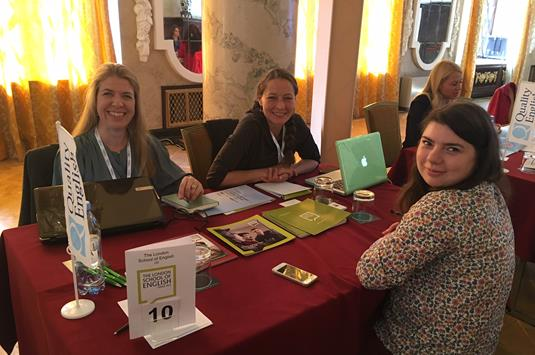 Jo Burns and Silvia Cupini of London School of English with Maria Sokolova of ITEC Agency - Copy