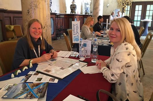 Laura MacKinlay of ECS Scotland  with Olga  Stefanitskaya of Travelmart - Copy