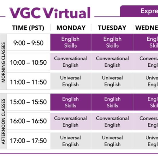 Join us from home with VGC Express English